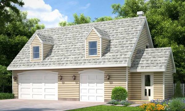 Garage with rental apartment House Plan