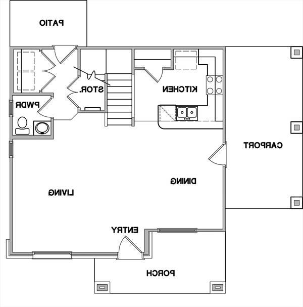 First Floor Plan image of Featured House Plan: BHG - 3082
