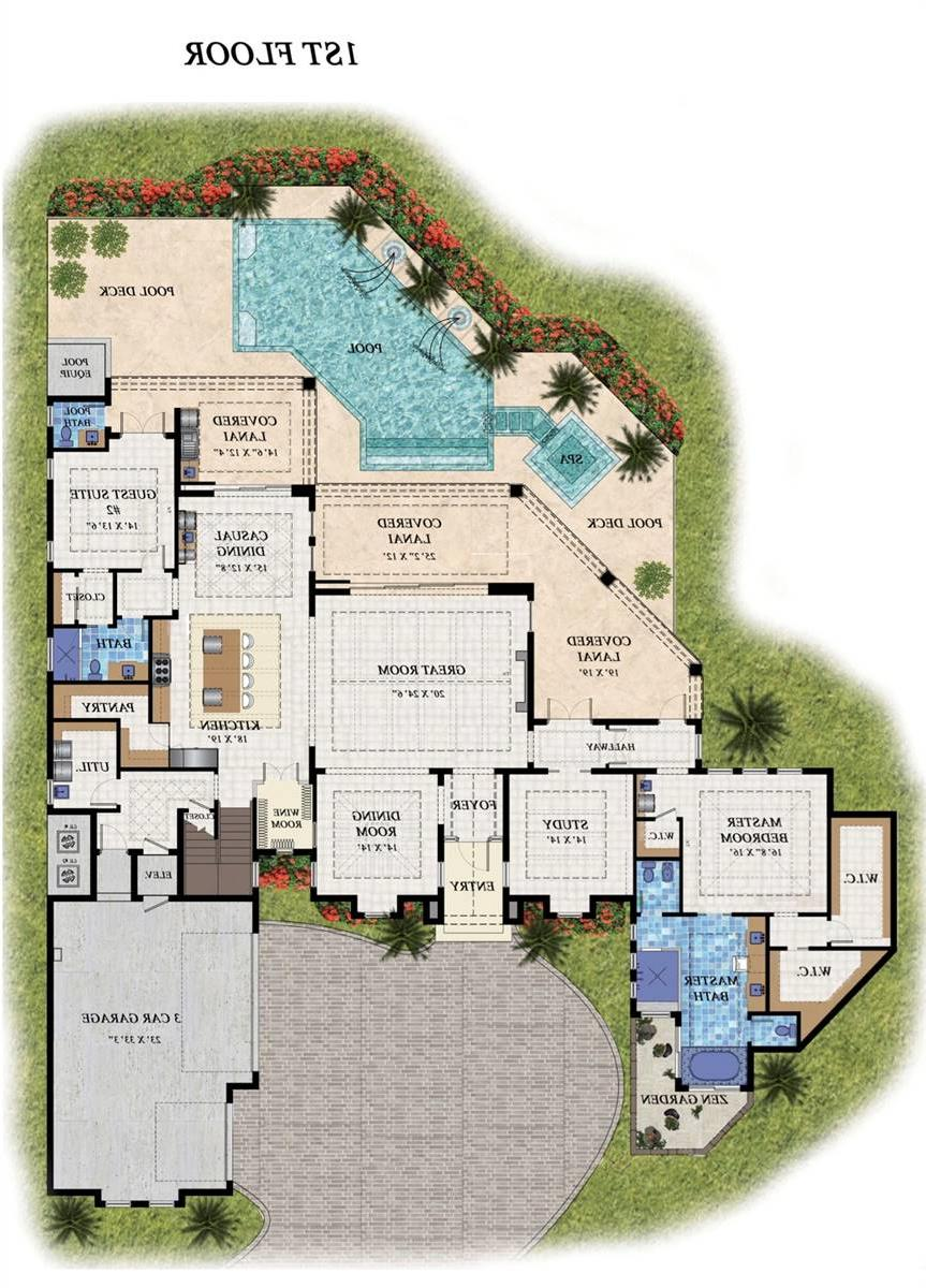 1st Floor Plan image of Featured House Plan: BHG - 7536