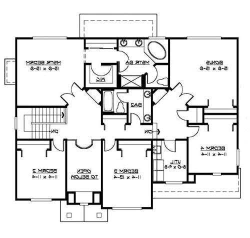 Upper Floor image of Featured House Plan: BHG - 3220