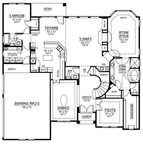 First Floor image of Featured House Plan: BHG - 4539