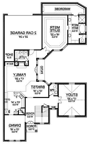 First Floor image of Featured House Plan: BHG - 4882