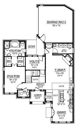 First Floor image of Featured House Plan: BHG - 4536