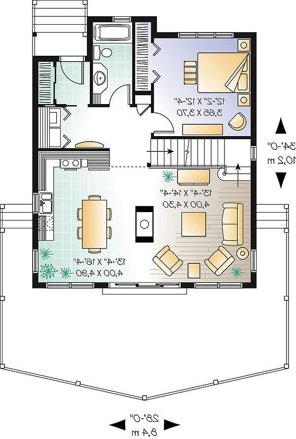 First level image of vacation two-story house plan