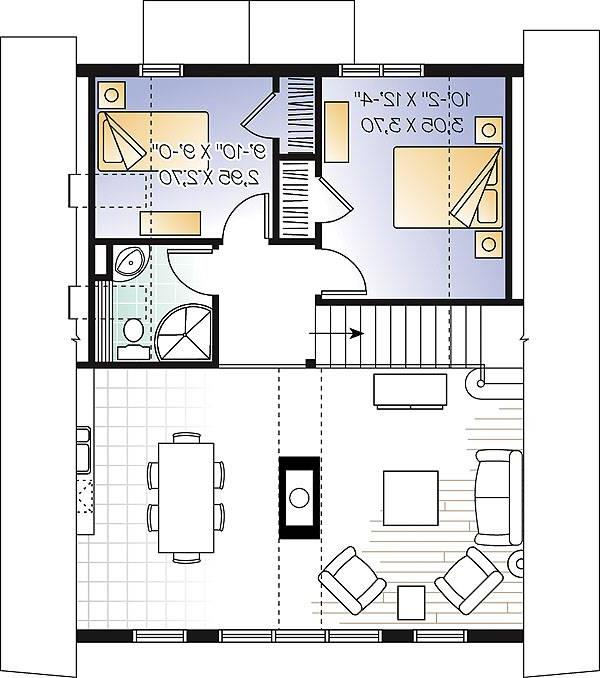 Second level image of vacation two-story house plan