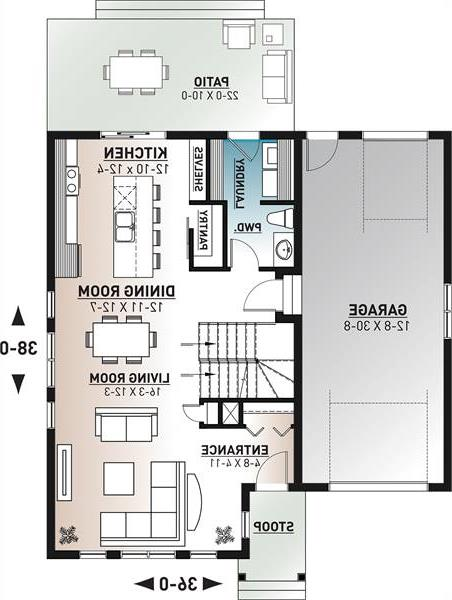 1st floor plan image of Featured House Plan: BHG - 6368