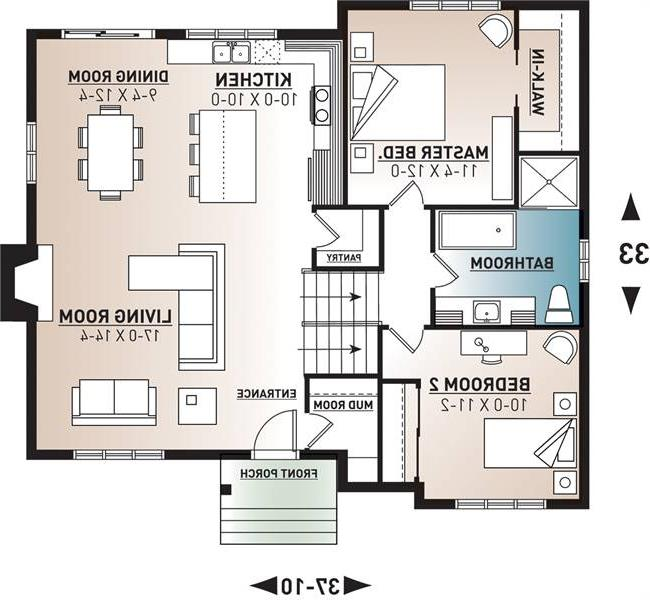 1st Floor Plan image of Featured House Plan: BHG - 7476