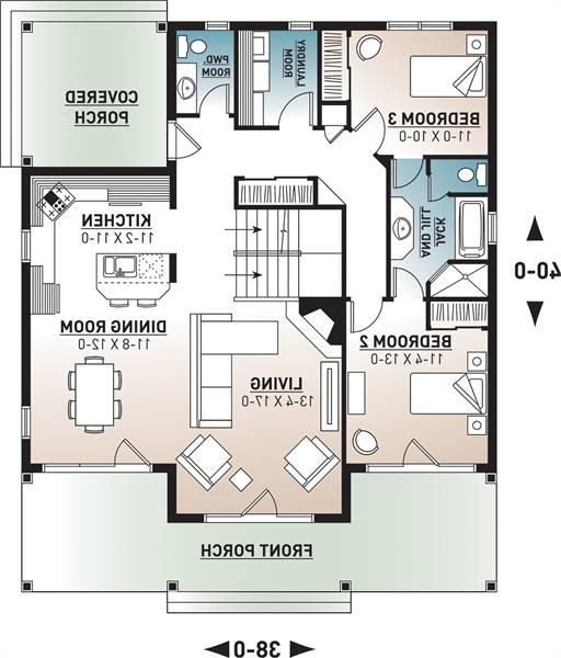1st Floor Plan image of Featured House Plan: BHG - 9845