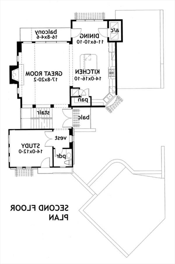 Second Floor Plan image of Featured House Plan: BHG - 2082