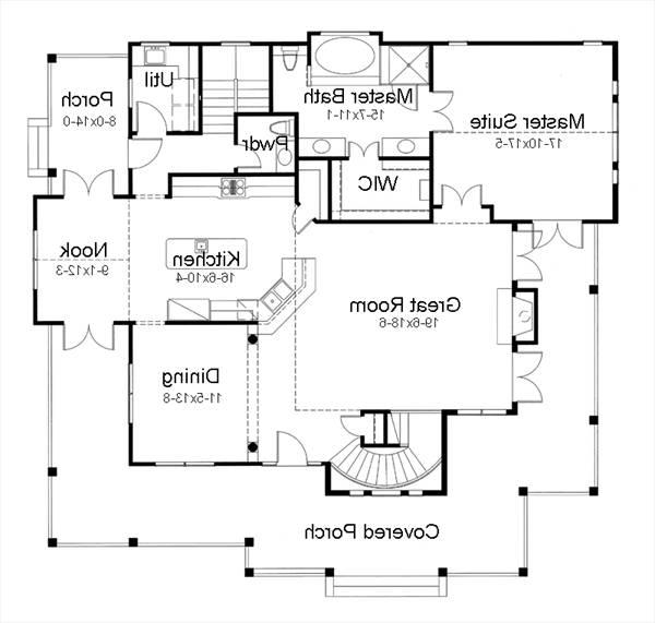 First Floor Plan image of Featured House Plan: BHG - 7401