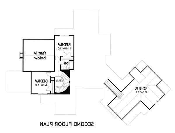 Second Floor Plan image of Featured House Plan: BHG - 3151