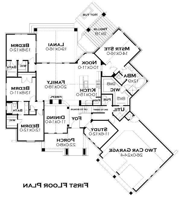 First Floor Plan image of Featured House Plan: BHG - 5252
