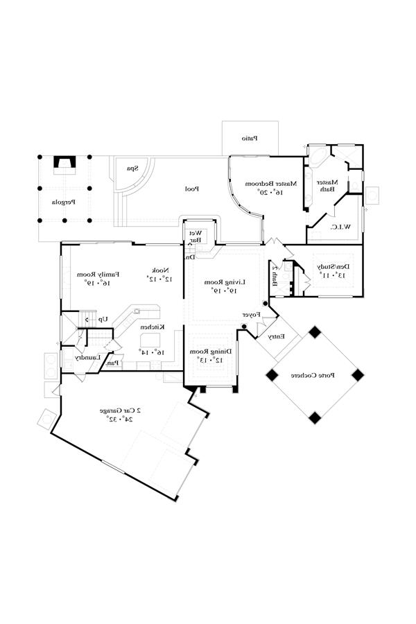 First Floor Plan image of Featured House Plan: BHG - 4453