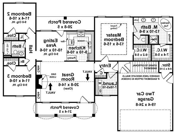 1st Level Floorplan image of Featured House Plan: BHG - 7090