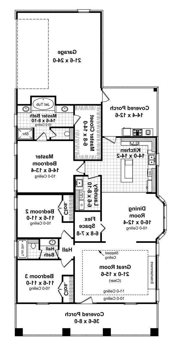 1st Level Floorplan image of Featured House Plan: BHG - 7141