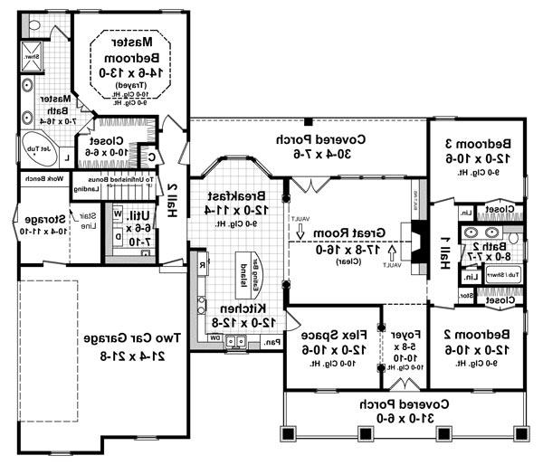1st Level Floorplan image of Featured House Plan: BHG - 6262