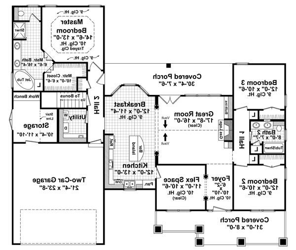 1st Level Floorplan image of Featured House Plan: BHG - 7139