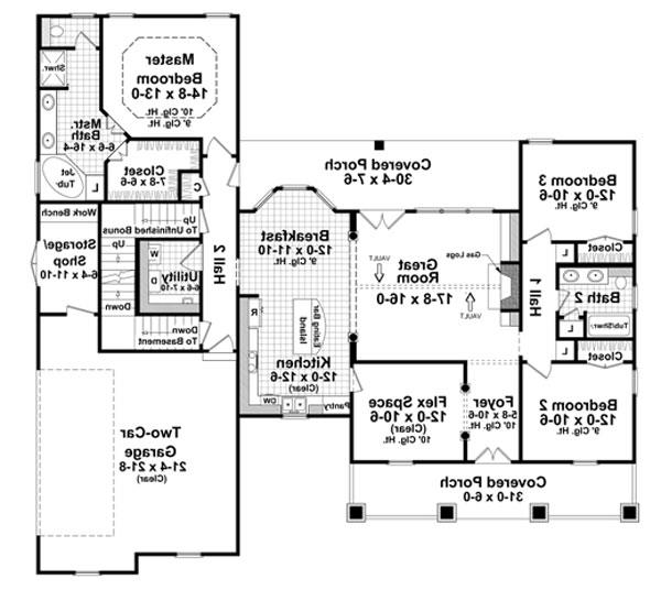 1st Level Floorplan image of Featured House Plan: BHG - 6671