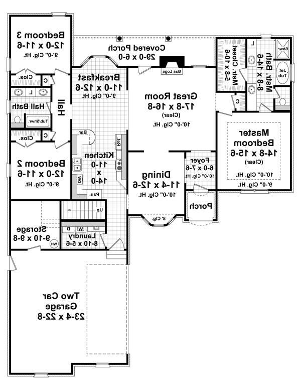 1st Level Floorplan image of Featured House Plan: BHG - 7027