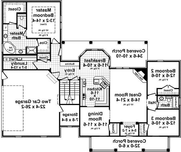 1st Level Floorplan image of Featured House Plan: BHG - 5273
