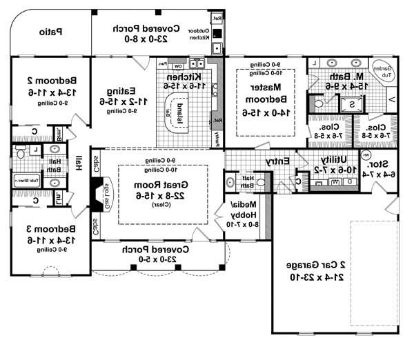 1st Level Floorplan image of Featured House Plan: BHG - 6336