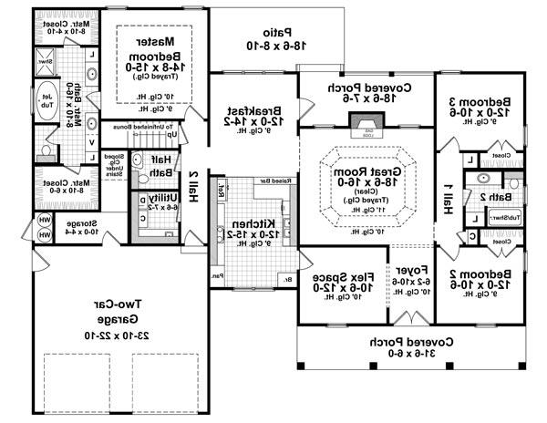 1st Level Floorplan image of Featured House Plan: BHG - 6775
