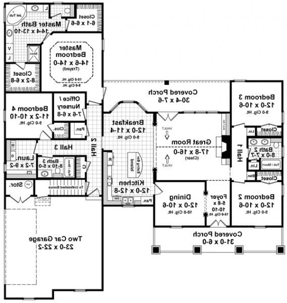 1st Level Floorplan image of Featured House Plan: BHG - 6263