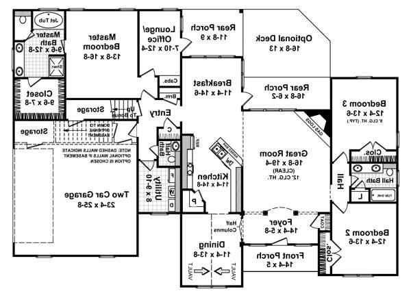 1st Level Floorplan image of Featured House Plan: BHG - 5711