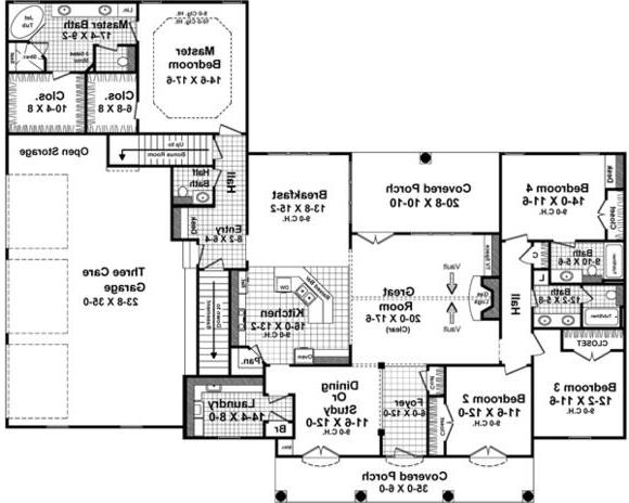 1st Level Floorplan image of Featured House Plan: BHG - 4890