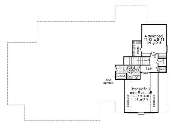 2nd Level Floorplan image of Featured House Plan: BHG - 7643