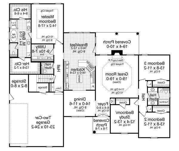 1st Level Floorplan image of Featured House Plan: BHG - 6466