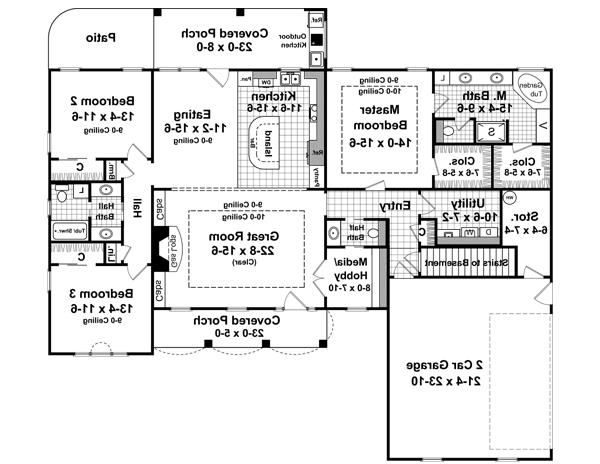 First Floor with Basement Stair Option image of Featured House Plan: BHG - 6336