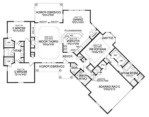 First Floor Plan image of Featured House Plan: BHG - 4421