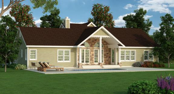 Rear Rendering image of Featured House Plan: BHG - 4704
