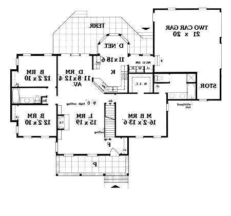 First Floor Plan image of Featured House Plan: BHG - 3886