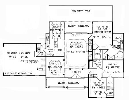 First Floor Plan image of Featured House Plan: BHG - 3698