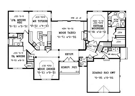 First Floor Plan image of Featured House Plan: BHG - 3707