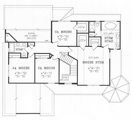 Second Floor Plan image of Featured House Plan: BHG - 4463