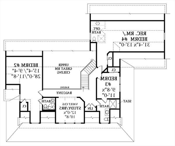 Second Floor Plan image of Featured House Plan: BHG - 1583