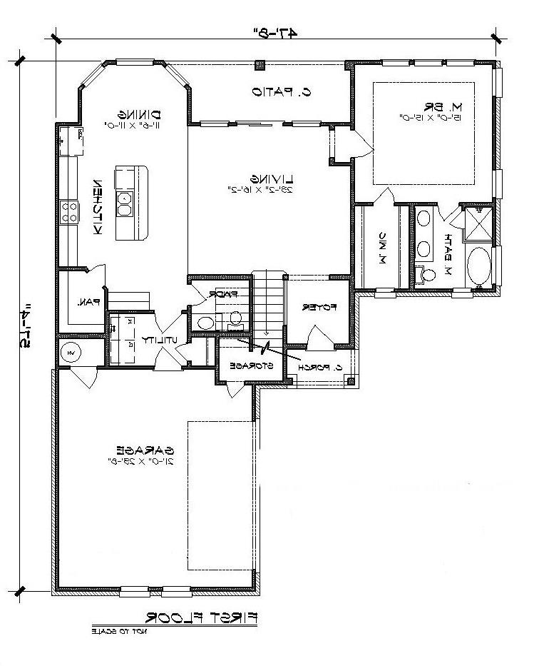 First Floor Plan image of Featured House Plan: BHG - 5208