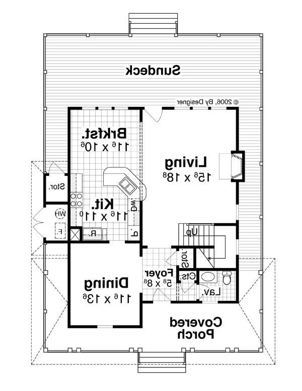 First Floor image of Featured House Plan: BHG - 7914