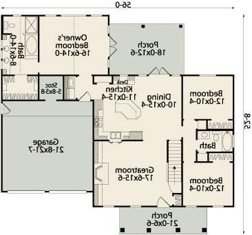First Floor Plan image of Featured House Plan: BHG - 3543