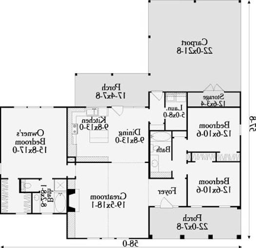 First Floor Plan image of Featured House Plan: BHG - 3626