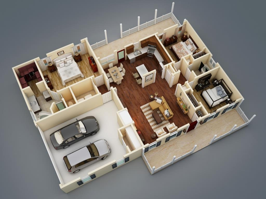 3D Floor Plan image of Featured House Plan: BHG - 5458