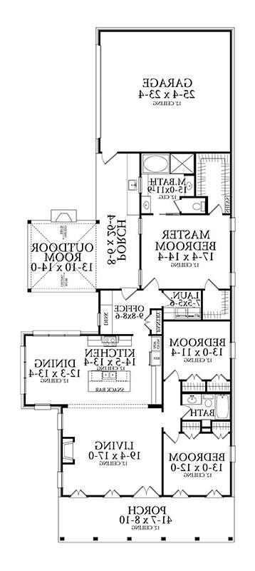 Floor Plan image of Under 2000 Square Foot House Plan  with Outdoor Living Space