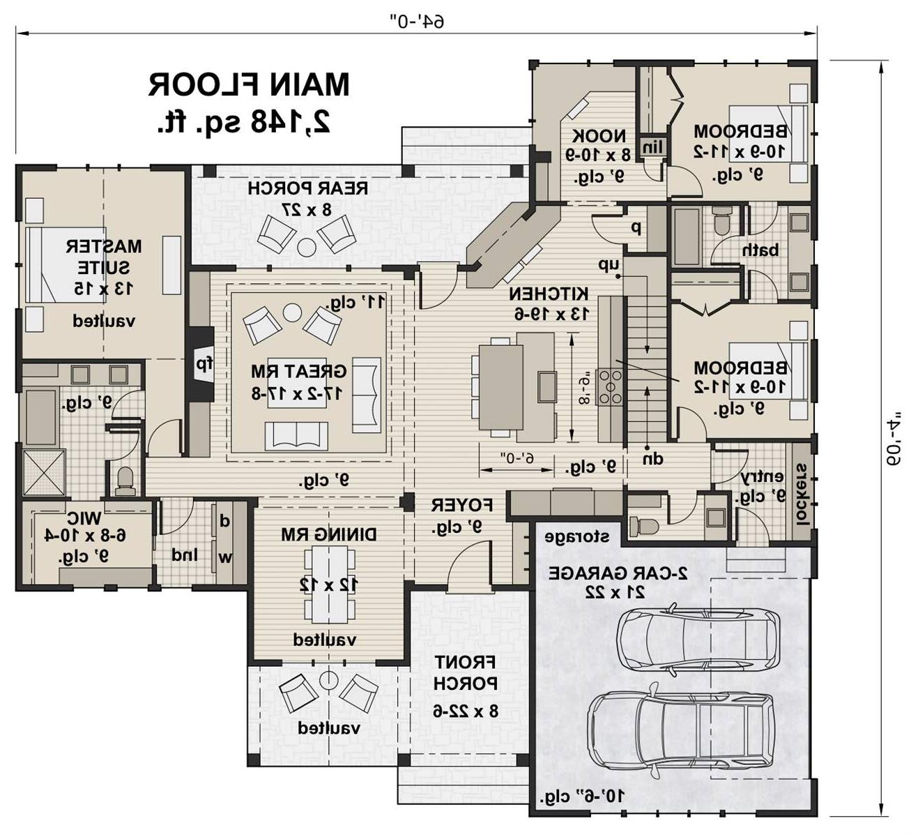 1st Floor Plan image of Featured House Plan: BHG - 7206