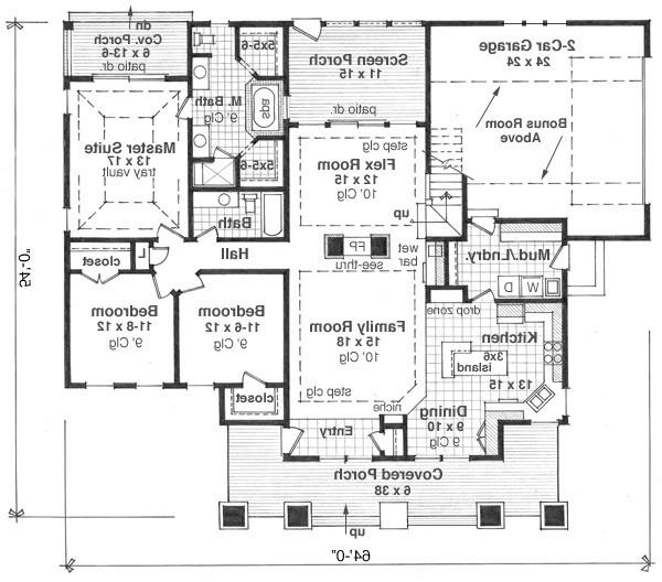 1st Floor Plan image of Featured House Plan: BHG - 9669