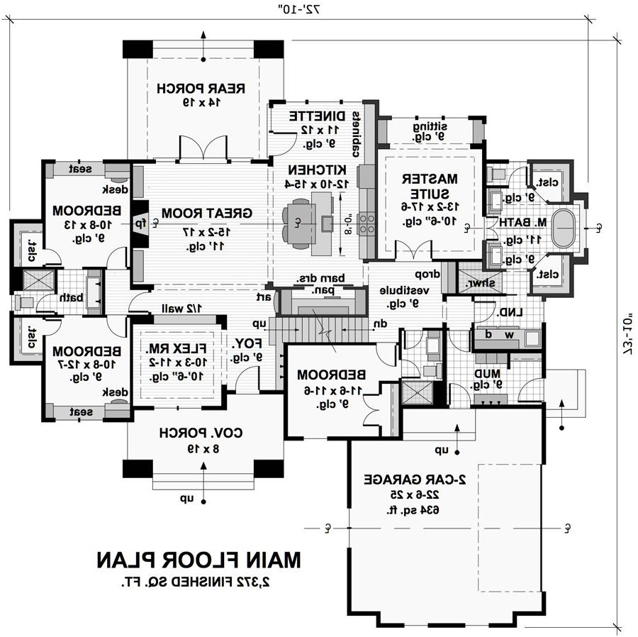 1st Floor Plan image of Featured House Plan: BHG - 9719