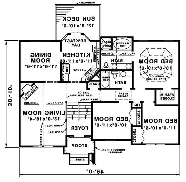upper level plan image of Featured House Plan: BHG - 1571