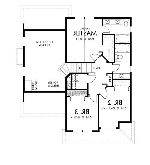 Second Floor Plan image of Featured House Plan: BHG - 4327